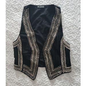 Jackets & Blazers - Black studded vest